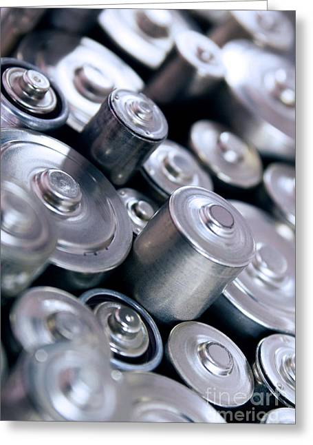 Alkaline Greeting Cards - Stack Of Batteries Greeting Card by Carlos Caetano