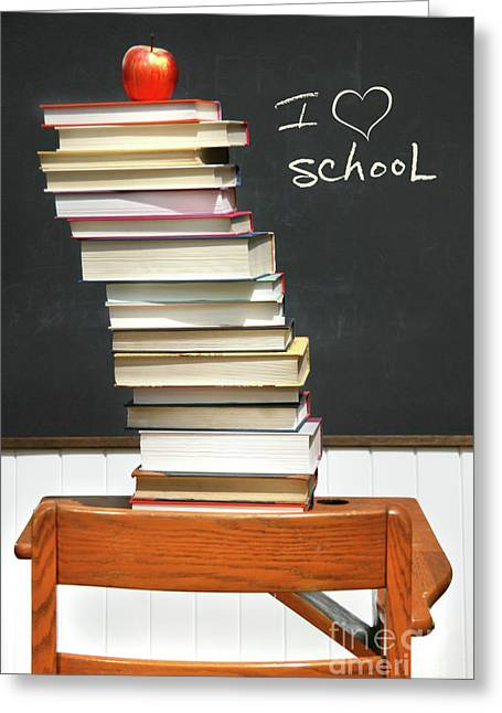 Reading Images Greeting Cards - Stack of books on an old school desk  Greeting Card by Sandra Cunningham