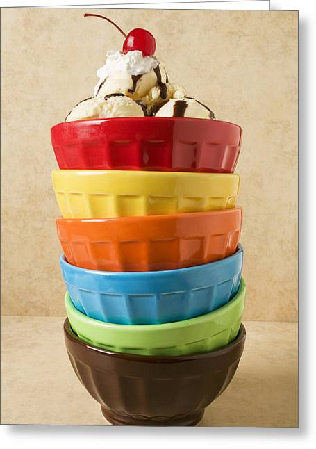 Syrups Greeting Cards - Stack of colored bowls with ice cream on top Greeting Card by Garry Gay