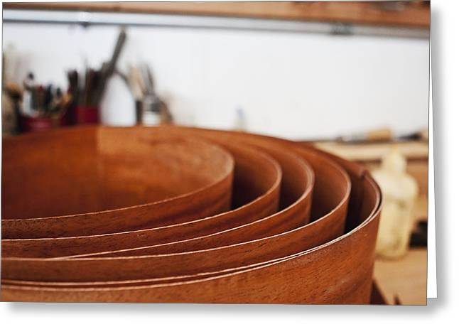 Wooden Bowl Greeting Cards - Stack of Wooden Bowls Greeting Card by Jetta Productions, Inc
