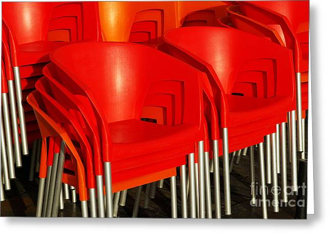 Stacked Chairs Greeting Card by Carlos Caetano