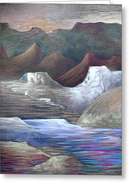 Visionary Artist Greeting Cards - Stacked  N.M. landscape no.2 Greeting Card by George  Page