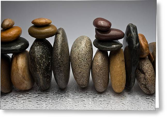 Pebbles Greeting Cards - Stacked River Stones Greeting Card by Steve Gadomski