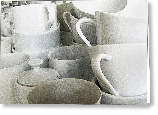 White Cups Greeting Cards - Stacked Up Greeting Card by Rich Franco
