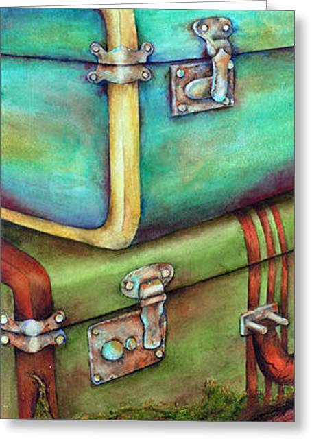 Old Paintings Greeting Cards - Stacked Vintage Luggage Greeting Card by Winona Steunenberg