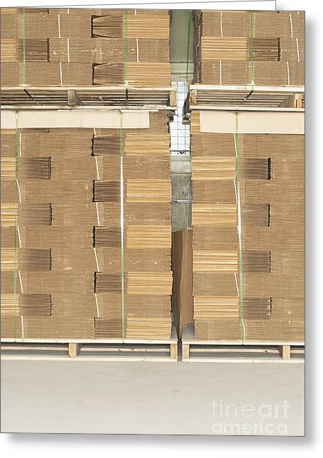 Cardboard Greeting Cards - Stacks of Corrugated Boxes Greeting Card by Shannon Fagan