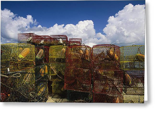 Food Industry And Production Greeting Cards - Stacks Of Crab Pots With Floats Sitting Greeting Card by Medford Taylor