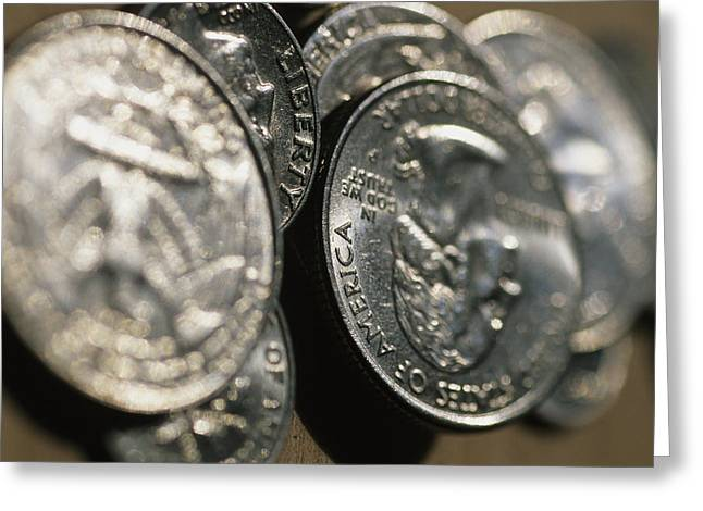 Coins Greeting Cards - Stacks Of Quarters Stand Askew Greeting Card by Stephen Alvarez