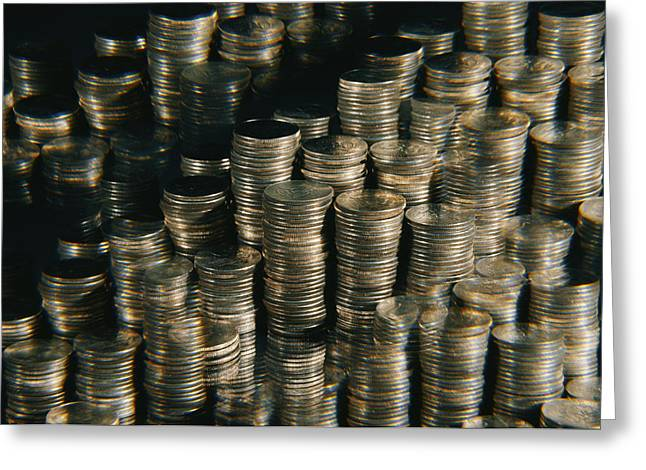 Stacks Of Quarters. The Stacks Greeting Card by Todd Gipstein