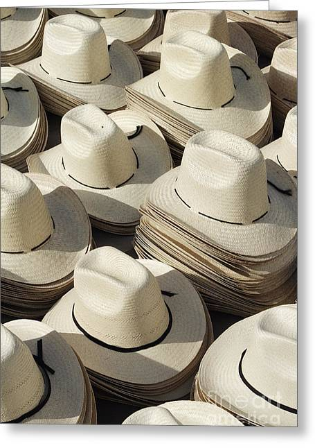 Worn In Greeting Cards - Stacks of Straw Hats Greeting Card by Jeremy Woodhouse