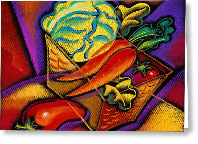 Consumption Greeting Cards - Staff for Yummy Salad Greeting Card by Leon Zernitsky