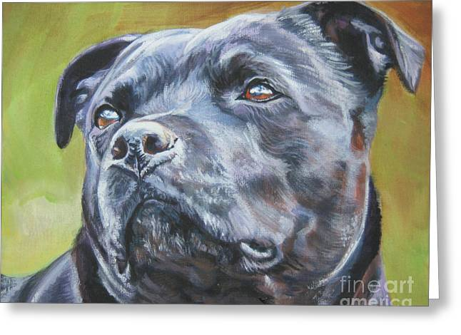 Staffordshire Bull Terrier Greeting Cards - Staffordshire Bull Terrier Greeting Card by Lee Ann Shepard