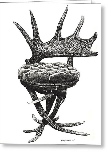 Stag Antlers Chair Greeting Card by Adendorff Design