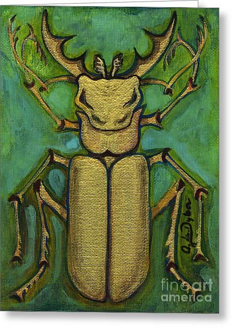 Polish American Painters Greeting Cards - Stag Beetle Greeting Card by Anna Folkartanna Maciejewska-Dyba