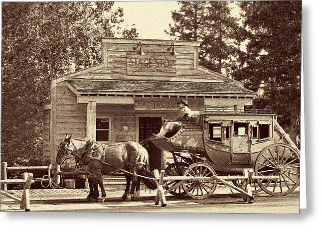 Coach Greeting Cards - Stage Coach Stop - Jackson Hole WY Greeting Card by Christine Till