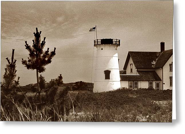 Ocean Photography Greeting Cards - Stage Harbor Lighthouse Greeting Card by Skip Willits