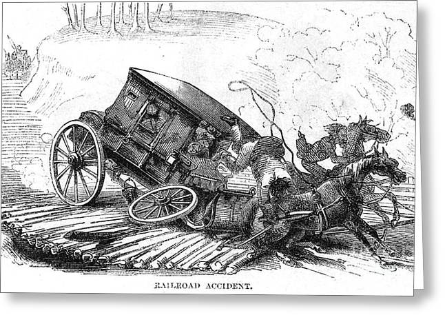Strother Greeting Cards - Stagecoach Accident, 1856 Greeting Card by Granger