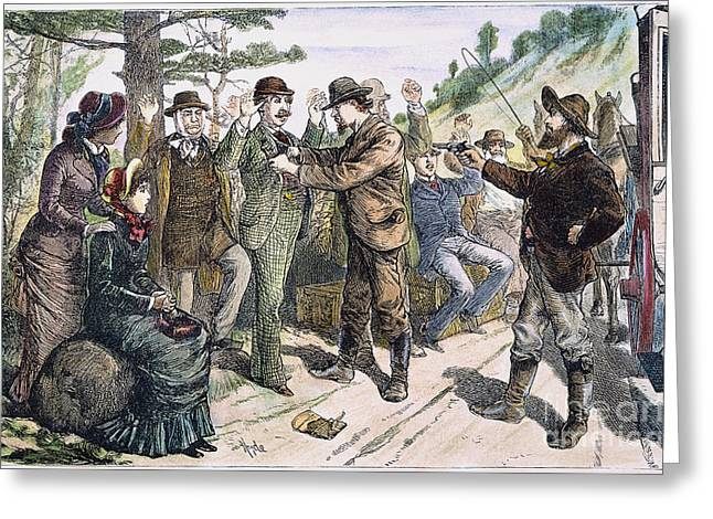 1880s Greeting Cards - STAGECOACH ROBBERY, 1880s Greeting Card by Granger