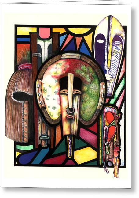 African-american Artist Drawings Greeting Cards - Stain Glass Greeting Card by Anthony Burks Sr