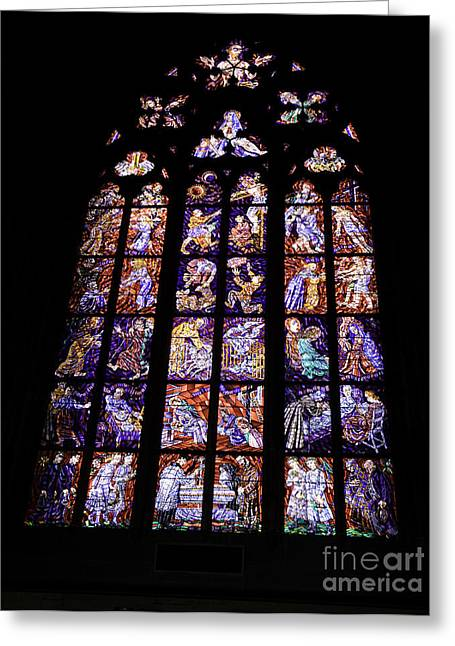 Religious Art Photographs Greeting Cards - Stain Glass Window Greeting Card by Madeline Ellis