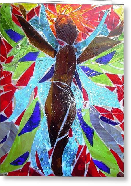 Light Glass Art Greeting Cards - Stained Glass Angel Greeting Card by Laura  Grisham
