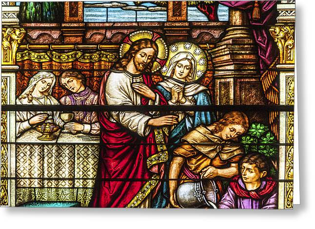 Catholic Art Greeting Cards - Stained Glass Greeting Card by Anthony Citro