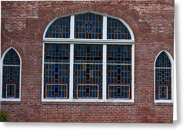 Pasco County Greeting Cards - Stained Glass at St Paul Greeting Card by Ed Gleichman