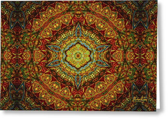 Stained Glass Gas Ring Mandala Greeting Card by Richard H Jones