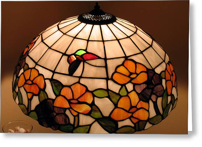 Stained glass lampshade Greeting Card by Suhas Tavkar