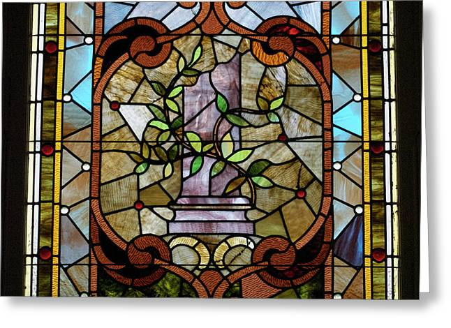 Coloured Glass Greeting Cards - Stained Glass LC 12 Greeting Card by Thomas Woolworth