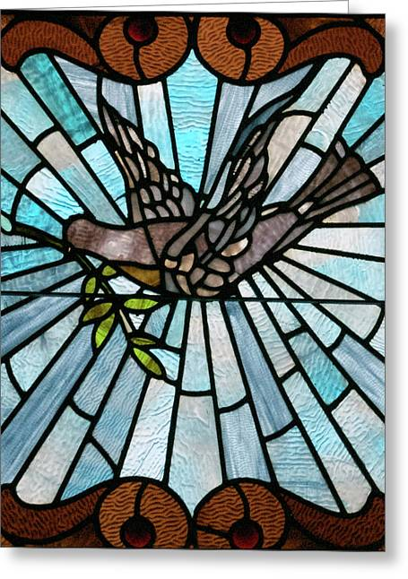 American Glass Art Greeting Cards - Stained Glass LC 14 Greeting Card by Thomas Woolworth