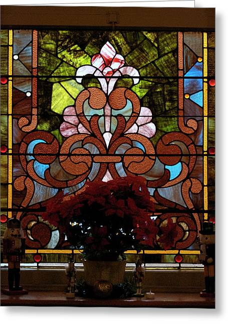 Coloured Glass Greeting Cards - Stained Glass LC 17 Greeting Card by Thomas Woolworth