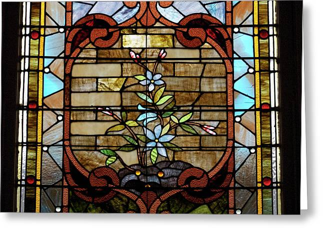 Coloured Glass Greeting Cards - Stained Glass LC 18 Greeting Card by Thomas Woolworth