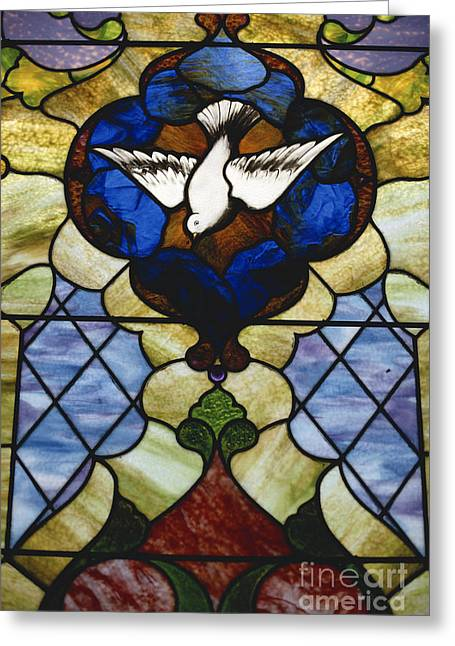 Stainglass Greeting Cards - Stained Glass Window Greeting Card by Bernard Wolff