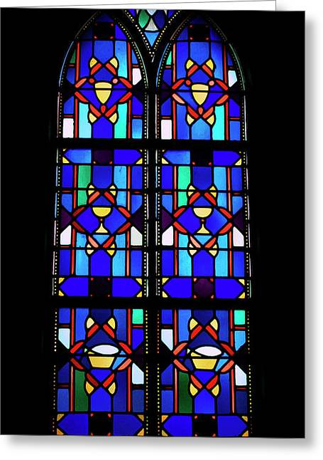 Colorful Photos Glass Art Greeting Cards - Stained Glass Window Blue Greeting Card by Thomas Woolworth
