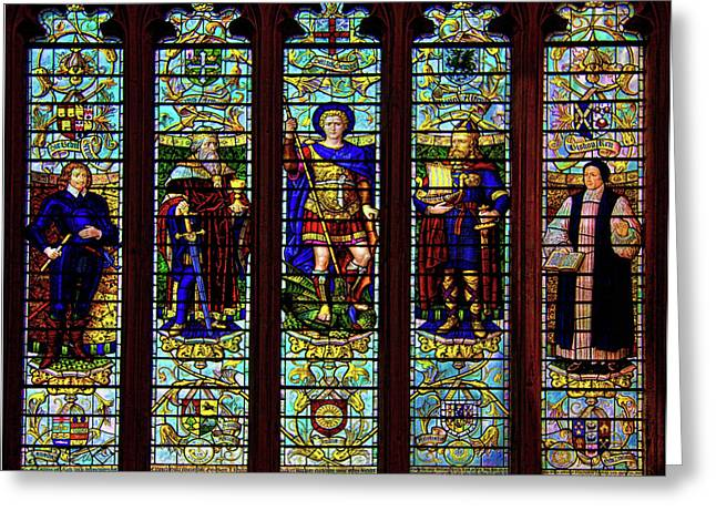 Somerset - England Greeting Cards - Stained Glass Window Greeting Card by Chris Lord