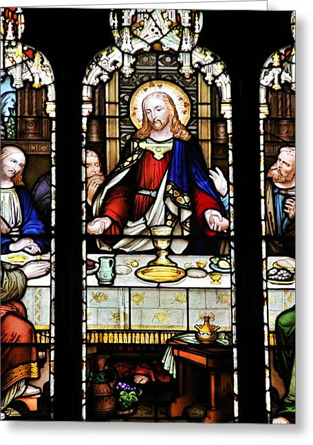 Stained Glass Windows Greeting Cards - Stained Glass Window Last Supper Saint Giles Cathedral Edinburgh Scotland Greeting Card by Christine Till