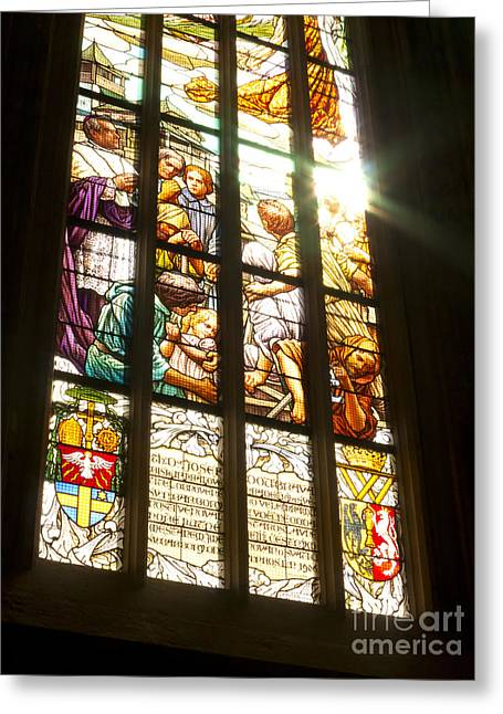 St Barbara Greeting Cards - Stained Glass Window Greeting Card by Michal Boubin
