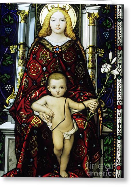 Jesus Christ Icon Greeting Cards - Stained glass window of the Madonna and Child Greeting Card by Sami Sarkis