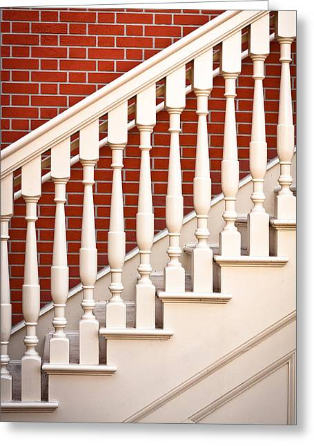 Wooden Stairs Greeting Cards - Stair case Greeting Card by Tom Gowanlock
