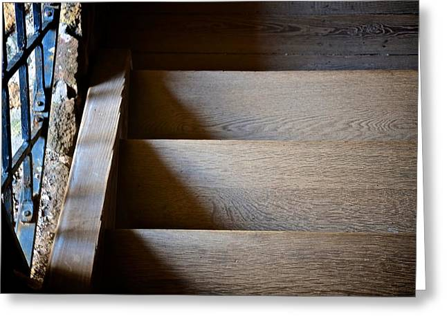 Wooden Stairs Greeting Cards - Stair Light Greeting Card by Catherine Murton