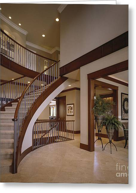 Entryway Greeting Cards - Staircase in Modern Home Greeting Card by Robert Pisano