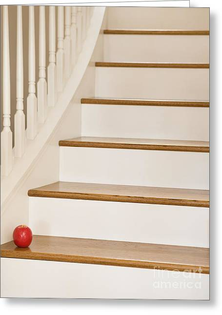 Wooden Stairs Greeting Cards - Stairs and Apple Greeting Card by Andersen Ross