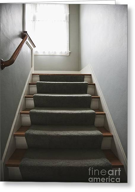 Wooden Stairs Greeting Cards - Stairs and Hand Rail Greeting Card by Jetta Productions, Inc