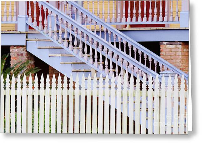 Wooden Stairs Greeting Cards - Stairs And White Picket Fence Greeting Card by Jeremy Woodhouse