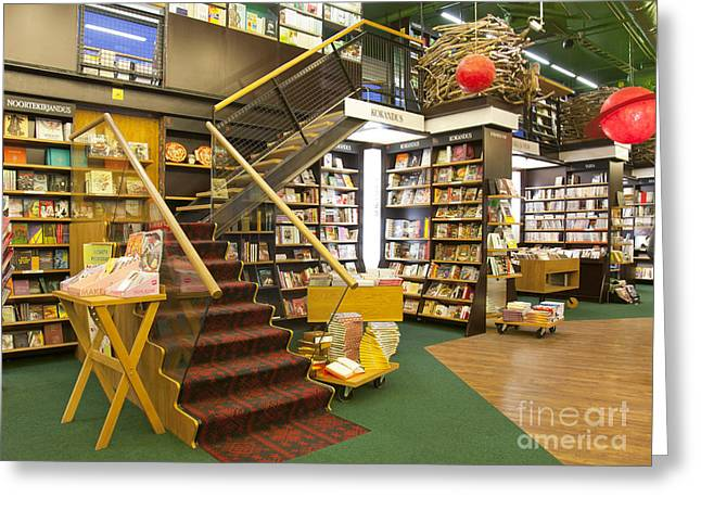 Bookcase Greeting Cards - Stairs in a Bookstore Greeting Card by Jaak Nilson