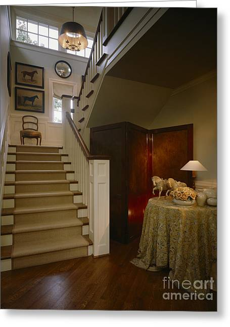 Wooden Stairs Greeting Cards - Stairs In Elegant Home Greeting Card by Robert Pisano