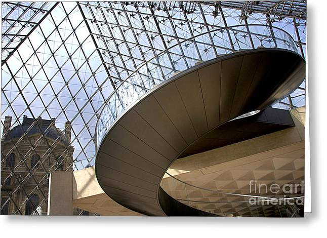 Louvre Greeting Cards - Stairs in Louvre Museum. Paris.  Greeting Card by Bernard Jaubert