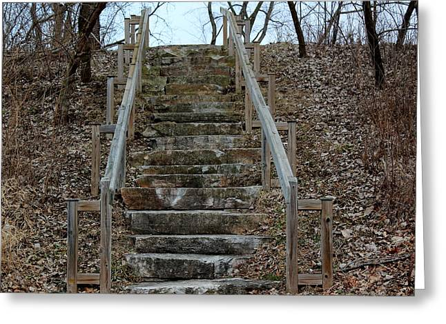 Wooden Stairs Greeting Cards - Stairs in the Woods Greeting Card by Rosanne Jordan
