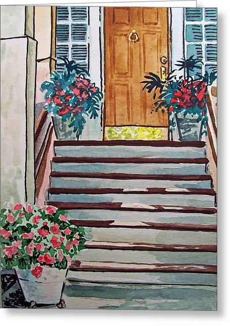 Sketch Book Greeting Cards - Stairs Sketchbook Project Down My Street Greeting Card by Irina Sztukowski